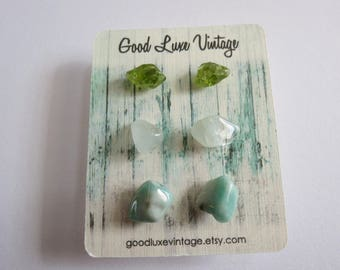 Crystal Earring Set Studs Peridot Aquamarine Amazonite Green Birthday Gift Natural Druzy Gemstones Nickel Free Boho