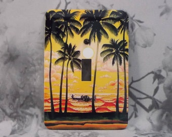 Metal Tropical Light Switch Cover - Travel Poster Switch Covers - 1T Single Switch Plate - Single Gage Switch