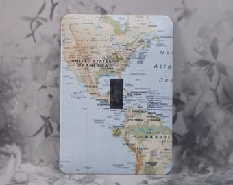 Metal Map Switch Cover - Light Blue Map - Metal Switch Cover - 1T Single Switch Cover