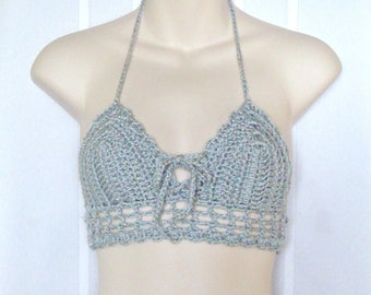 Sparkly Grey Crochet Halter Top, Holiday Rave Top, Grey Crochet Crop Top, Sparkly Rave Bra, Rave Bra, Grey Crochet Bralette
