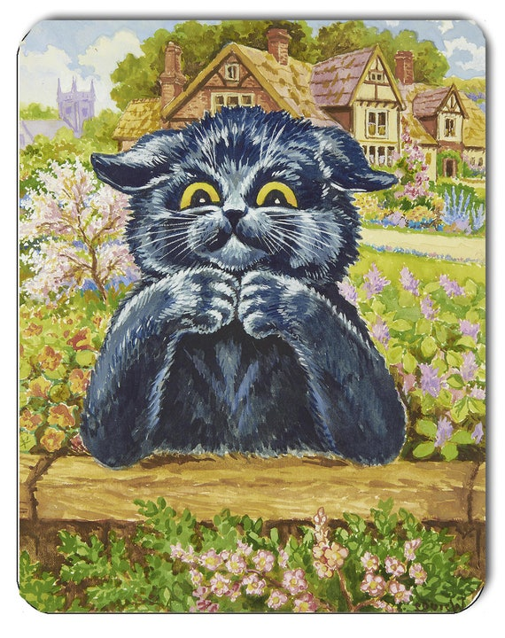 Louis Wain Black Thinking Cat with Fan Mouse Mat Mouse Pad