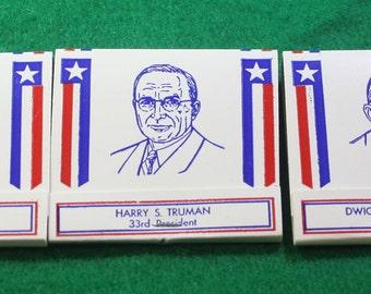 Vintage 1976 Lot of  (5) Unused Rear strike Diamond Matches Presidents  bicentennial series - 31th Herbert Hoover thru 35 th JFK Tobacciana
