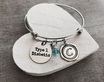Type 1 diabetic, Diabetes Bracelet, Medical ID, Diabetes, Diabetic, Insulin, Diabetic Charm, Diabetic Pendant, Diabetic Jewelry, Charm