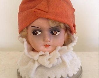 Vintage Composition Doll Head Hat Stand