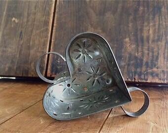Antique Tin Heart Cheese Mold