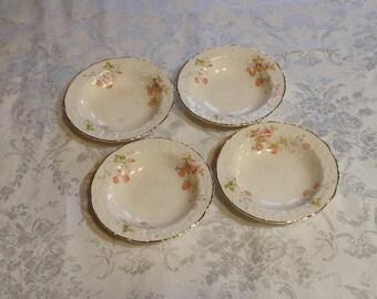 Set of 4 Small Dessert Bowls - Rose Point, Embellished Floral Trim - Fine China with Gold Trim - Discontinued Pope Gosser - Wedding Serving
