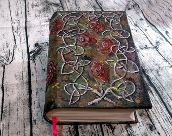 Celtic Rose 500 Page Blank Book of Shadows, Hand Painted 6x9 Journal