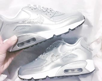 Bling Nike Air Max 90 Shoes with hand placed Swarovski crystal details - Swarovski Nike - Custom Nikes - Bling Shoes - Custom Shoes