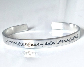 Nevertheless She Persisted Stacking Cuff Feminist Mantra