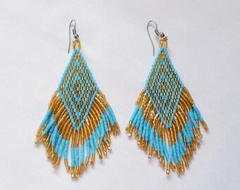 Turquoise and gold seed bead earrings  -  beaded  fringe earrings