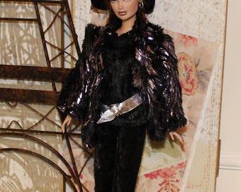 6 Pc Set Paris Chic Collection #1. Coat, Pants, Top, Hat, Belt & Purse. Clothes fit Barbie size dolls. (Fashion Royalty Doll not included)