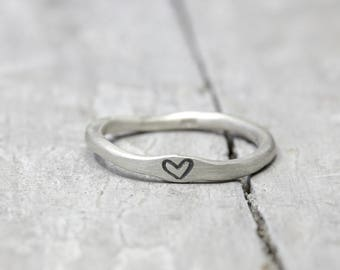 925 silver ring with heart, ring with heart, stack ring, organic shape, jewelry stamped, love, Valentine's Day