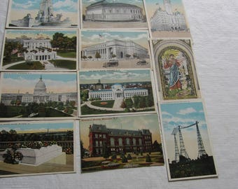 11 Vintage Color Postcards of Washington D.C. 1940's (?)