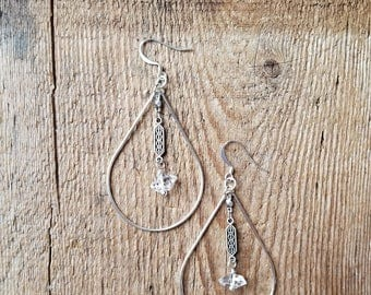 Sterling silver teardrops with herkimer diamonds on decorative chain