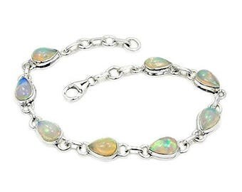 Ethiopian Opal Bracelet, Sterling Silver Bracelet ; AD875 The Silver Plaza