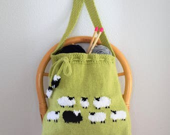 Bag Knitting Pattern, Knitting bag Pattern,  Handmade Tote Bag, Sheep Shoulder Bag, Sheep Handbag, Knitted Sheep Bag, Pdf download