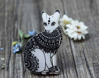 Cat lady jewelry gift|for|her Black|and|white Cat pin Cat jewelry Cat lover gift Animal pin Animal jewelry Pet Lover Gifts|for|Girlfriend