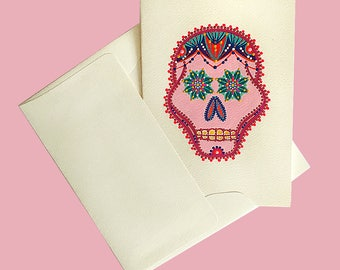 Ready to Ship-Handmade Greeting Card-Day of the Death-Sugar Skull Mexican Folk Art Design-One of a Kind