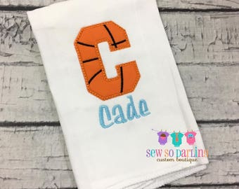 Basketball personalized burp cloth -  baby boy burp cloth - Personalized Burp Cloth -  burp cloth for babies - baby boy personalized gift