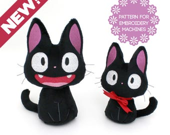 """ITH In The Hoop plush embroidery machine design - plushie cat pattern Halloween Black Cat Jiji 2 faces 2 sizes 5.25"""" 7"""" - some sewing kawaii"""