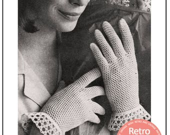 1960s Crochet Gloves Pattern - PDF Instant Download