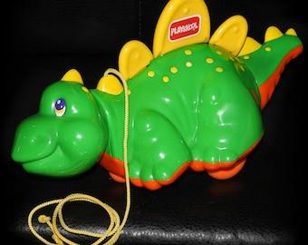 Vintage 1993 Hasbro Playskool Green Dinosaur Plastic Pull-Along Rolling Toddler Play Toy Child Dragon Walking Wobbling Pretend Growl Sound