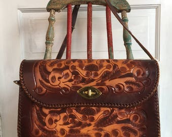 Vintage 1960's Tooled Leather Purse With Shoulder Strap By Cliftons
