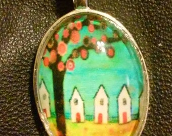 1 1/2 inch/ Tree Picture/ Under Glass / Pendant Necklace/ Your Choice of Several / With Color Matching 18 inch PU Leather Cord