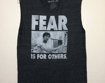 """Bruce Lee Repurposed Adult M 40"""" Chest Charcoal Heather Sleeveless Muscle T Shirt"""