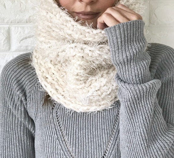 Chunky Crochet Faux Fur Reversible Cowl ivory cream