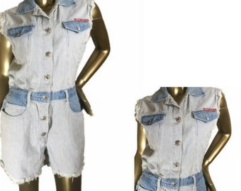 Sleeveless Distressed Engineer Railroad Stripe Denim Romper
