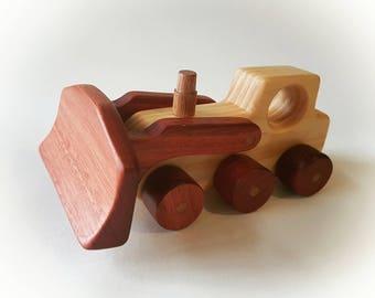 Bulldozer - Wooden Vehicle Toy, Natural Finish, Waldorf Toy