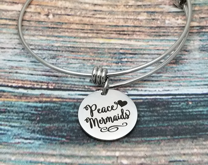 Peace Love Mermaids Customizable Expandable Bangle Charm Bracelet, choose your charms, create your style, design your bracelet,