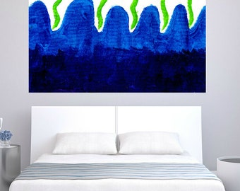 Fine Art abstract Blue Green painting large art webs acrylic painting modern decor office living room dinning room hand made minimalist