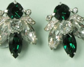 Eisenberg Clip Earrings Emerald green and Crystal Rhinestones