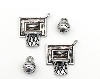 2 basketball net and ball   charms silver tone 24mm #CH 425