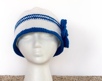 White Cloche Hat with Blue Accent Stripes & Flower |Crocheted Seasonal Fashion | Gift for Her