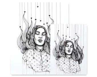 Daydreamer/ Art Print / Fashion Illustration / Ink Drawing