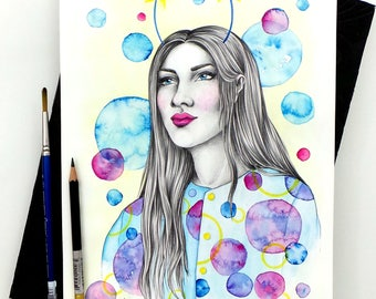 StarGazer - Original Watercolour Painting / Fashion Illustration / Watercolour Painting / Watercolour Portrait