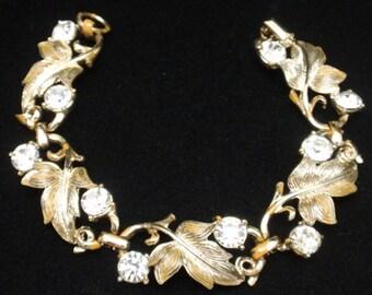 Vintage Coro Rhinestone Bracelet Dressy Leaf Design