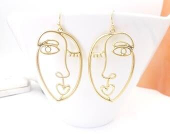 Abstract faces Earrings, Dangle Earrings, statement earrings, Wink earrings, birthday present, Gold face earrings