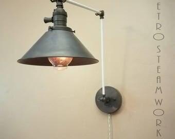 Adjustable Swinging Dimmable Wall Mount Modern Mid Century Lamp Gun Metal Brass & White Loft Sconce