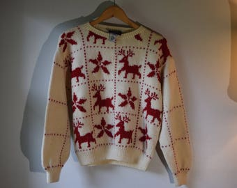 Medium Allen Jolly Vintage Christmas Sweater with Reindeer and Snowflakes Wool Sweater  Ski Sweater