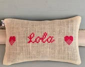 Handmade Custom Name Pillow Personalized Baby Shower Birthday Gift Cross Stitch Liberty of London Fabric