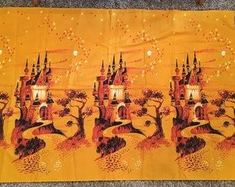 1950s Novelty Castle Border Print Fabric Yellow 3 Yards