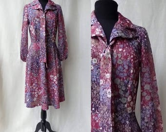 1970s Mulberry Floral Day Dress