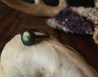 Labradorite Copper Ring Size 8 | Electroformed Copper Ring