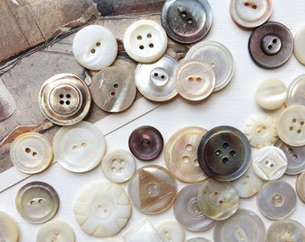 mother of pearl button lot vintage antique mop buttons