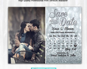 Silver Glitter Save The Date Magnet or Card DIY PRINTABLE Digital File or Print (+) Glitter Calendar Save The Date Photo Save The Date