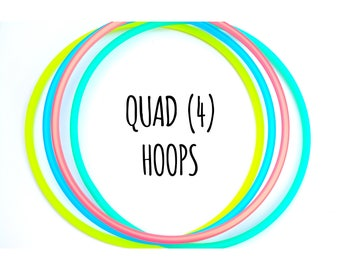 QUAD HOOPS - 4 Colored Polypro Quad Set ~ Quads Hoop Set, 4 Polypro Hoop Deal, Quad Hoops, Quad Minis, 4 Hoops, Leave Note At Checkout